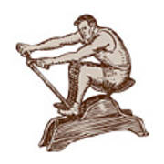 Athlete Exercising Vintage Rowing Machine Etching Poster