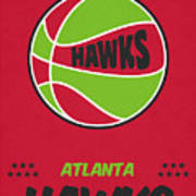 Atlanta Hawks Vintage Basketball Art Poster