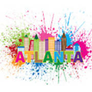 Atlanta Skyline Paint Splatter Text Illustration Poster