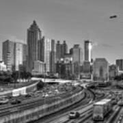Atlanta Sunset Good Year Blimp Overhead Cityscape Art Poster