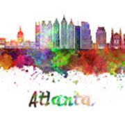 Atlanta V2 Skyline In Watercolor Poster
