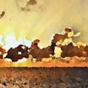 Atlantic Ocean Sunset In Oil  Poster
