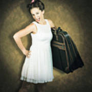 Attractive Young 1950s Woman Ready For Travel Tour Poster