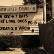 Auburn, Ny - Drive-in Theater Sepia Poster
