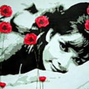 Audrey In Poppies Poster