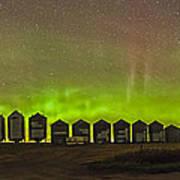 Aurora Borealis Behind Grain Bins Poster