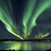 Aurora Borealis Over Tjeldsundet Poster