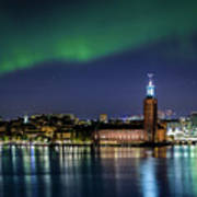 Aurora Over The Stockholm City Hall And Kungsholmen Poster