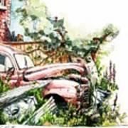 Austin A40 Van Rusting Away In The Garden Poster