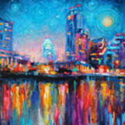 Austin Art Impressionistic Skyline Painting #2 Poster