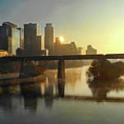 Austin Hike And Bike Trail - Pfluger Pedestrian Bridge - Fog Lifting Bright Panorama Poster