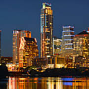 Austin Skyline At Night Color Panorama Texas Poster by Jon Holiday