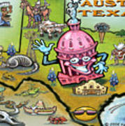 Austin Texas Cartoon Map Poster
