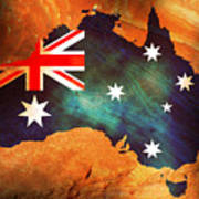 Australian Flag On Rock Poster