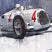Auto Union C Type 1937 Monaco Gp Hans Stuck Poster