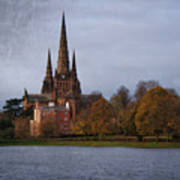 Autumn Lichfield Cathedral Poster