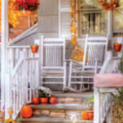 Autumn - House - My Aunts Porch Poster by Mike Savad