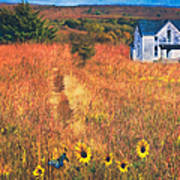 Autumn Abandoned House In The Prairie Poster