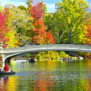 Autumn At Bow Bridge Central Park Poster