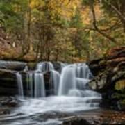 Autumn At Dunloup Creek Falls Poster