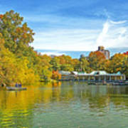 Autumn Central Park Lake And Boathouse Poster