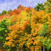 Autumn Country On A Hillside II - Digital Paint Poster