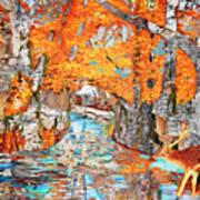 Autumn Deer Birch Background Poster