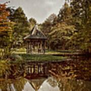 Autumn Gazebo Reflection Poster