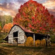 Autumn Hay Barn Poster