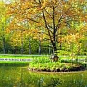 Autumn Landscape With Red Tree Poster