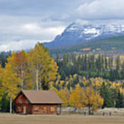 Autumn Mountain Cabin In Glacier Park Poster