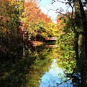 Autumn Park With Bridge Poster