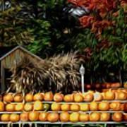 Autumn Pumpkins And Cornstalks Graphic Effect Poster