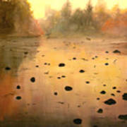 Autumn River Fog Poster