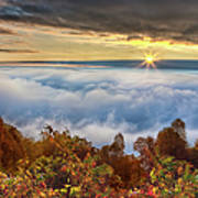 Autumn Sunrise On Cloud Tops Poster