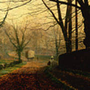 Autumn Sunshine Stapleton Parknear Pontefract  Poster by John Atkinson Grimshaw