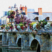 Azay-le-rideau, Loire Valley, France, Bridge With Flowers Poster