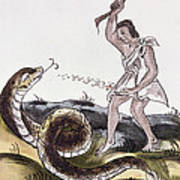 Aztec Killing A Serpent Poster