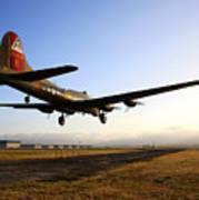 B17 Flying Fortress Lands At Livermore Klvk Poster