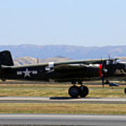 B25 Mitchell Rotating At Klvk Livermore Poster