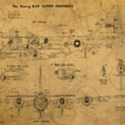 B29 Superfortress Military Plane World War Two Schematic Patent Drawing On Worn Distressed Canvas Poster