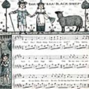 Baa Baa Black Sheep Antique Music Score Poster
