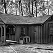 Babcock State Park Cabin - Paint Bw Poster