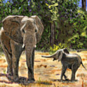 Baby And Mom Elephant Painting Poster