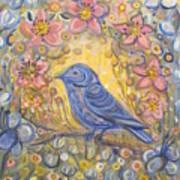 Baby Blue Bird Garden Poster