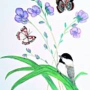 Baby Chickadee And Butterflies Poster