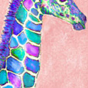 Baby Giraffe Pink And Purple Poster