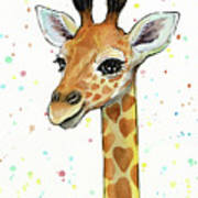 Baby Giraffe Watercolor With Heart Shaped Spots Poster