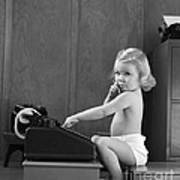 Baby Girl With Adding Machine, C.1940s Poster