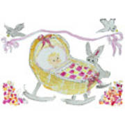 Baby Girl With Bunny And Birds Poster